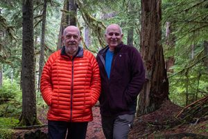 Jack and john in the forest on Mt Rainier