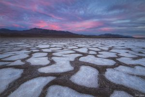 Desert salt flats at sunset