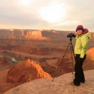 Sarah Marino photographing desert landscape